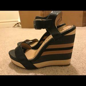 Splendid Kikka Black Beige Leather Wedge Sandals